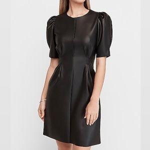 Express Puff Sleeve Vegan Leather Sheath Mini Dres